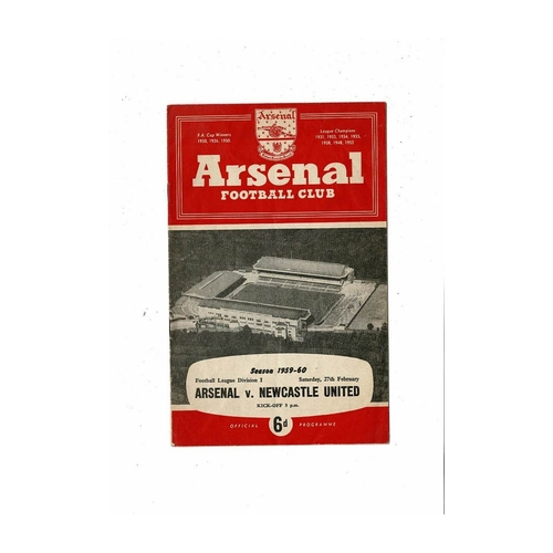 1959/60 Arsenal v Newcastle United Football Programme