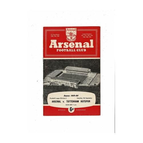 1959/60 Arsenal v Tottenham Hotspur Football Programme
