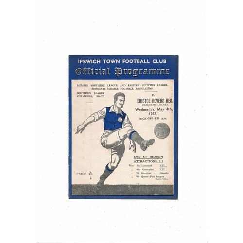 Ipswich Town v Bristol Rovers Reserves Southern League Football Programme 1937/38