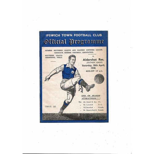 Ipswich Town v Aldershot Reserves Southern League Football Programme 1937/38