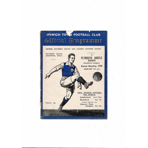 Ipswich Town v Plymouth Argyle Res Southern League Football Programme 1937/38