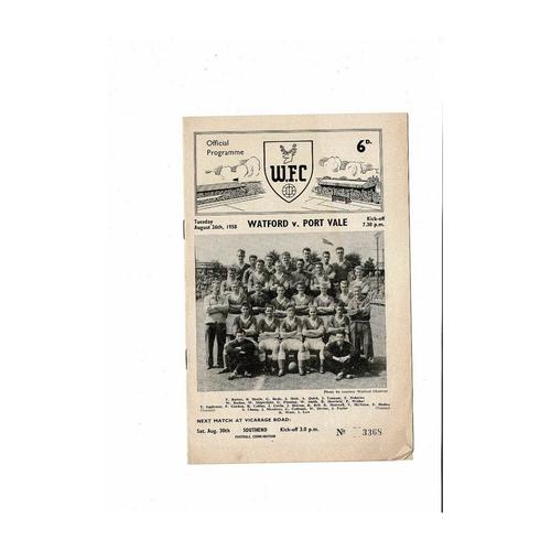 1958/59 Watford v Port Vale Football Programme