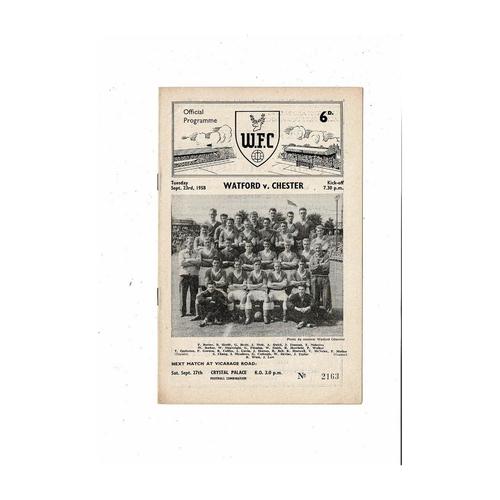 1958/59 Watford v Chester Football Programme