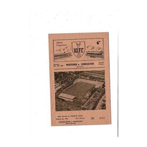 1959/60 Watford v Doncaster Rovers Football Programme