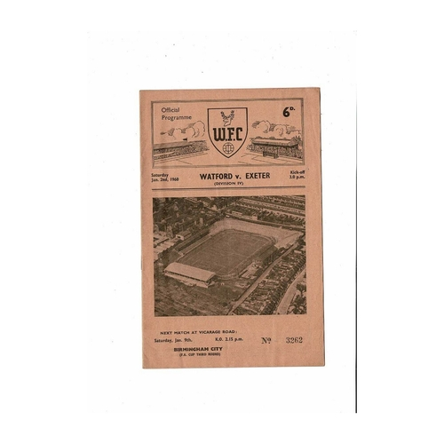 1959/60 Watford v Exeter City Football Programme