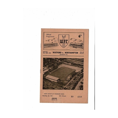 1959/60 Watford v Northampton Town Football Programme Dec. Abandoned