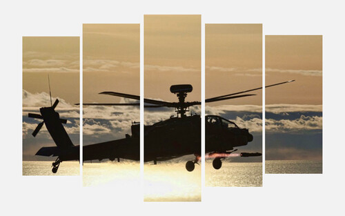 Helicopter on canvas.