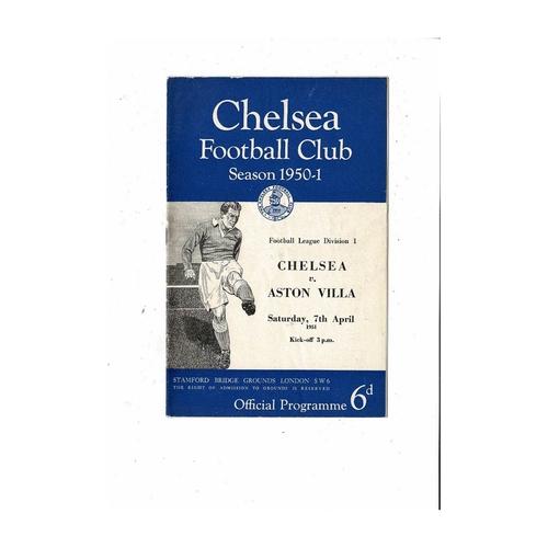 1950/51 Chelsea v Aston Villa Football Programme
