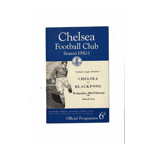 1950/51 Chelsea v Blackpool Football Programme
