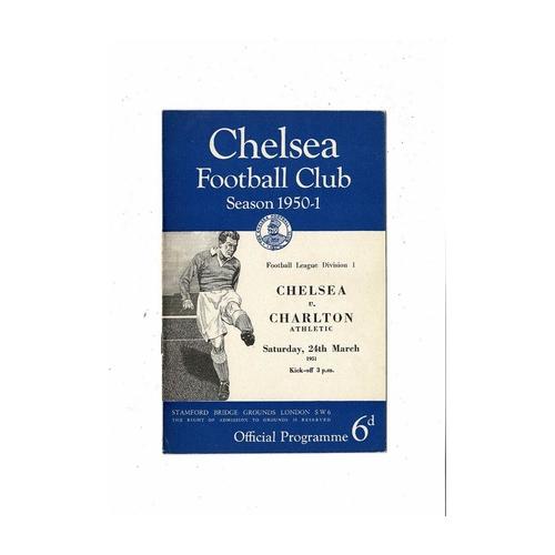 1950/51 Chelsea v Charlton Athletic Football Programme