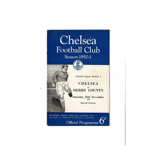 1950/51 Chelsea v Derby County Football Programme