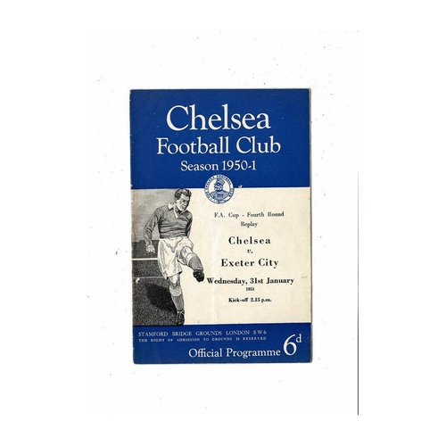 1950/51 Chelsea v Exeter City FA Cup Football Programme