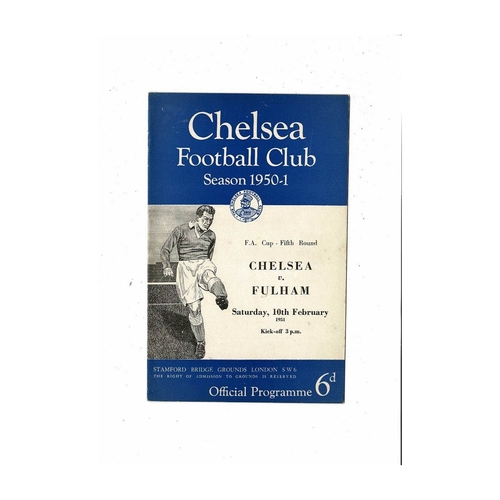 1950/51 Chelsea v Fulham FA Cup Football Programme
