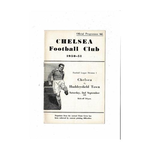 1950/51 Chelsea v Huddersfield Town Football Programme