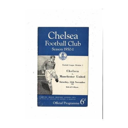 1950/51 Chelsea v Manchester United Football Programme