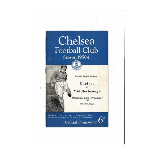 1950/51 Chelsea v Middlesbrough Football Programme