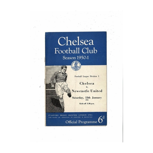1950/51 Chelsea v Newcastle United Football Programme