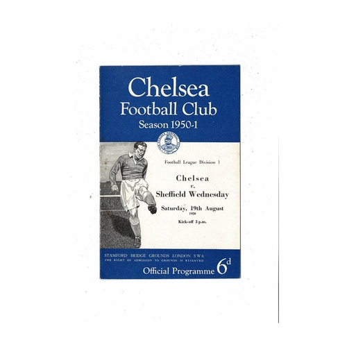 1950/51 Chelsea v Sheffield Wednesday Football Programme