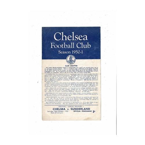 1950/51 Chelsea v Sunderland Football Programme