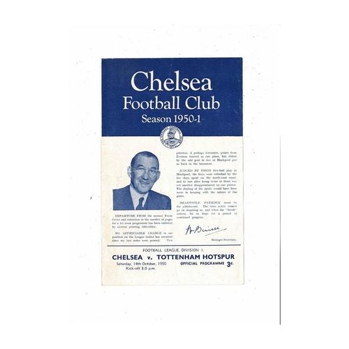 1950/51 Chelsea v Tottenham Hotspur Football Programme
