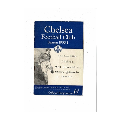 1950/51 Chelsea v West Bromwich Albion Football Programme