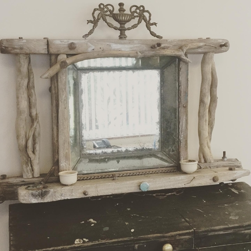 Large Distressed Driftwood Mirror