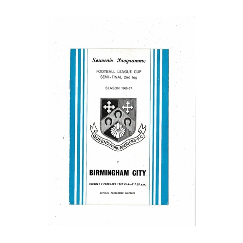 1966/67 Queens Park Rangers v Birmingham City League Cup Semi Final Football Programme