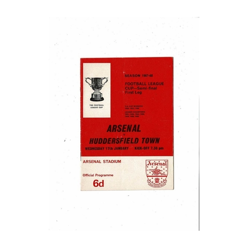 1967/68 Arsenal v Huddersfield Town League Cup Semi Final Football Programme