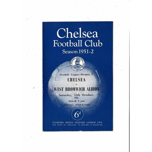1951/52 Chelsea v West Bromwich Albion Football Programme