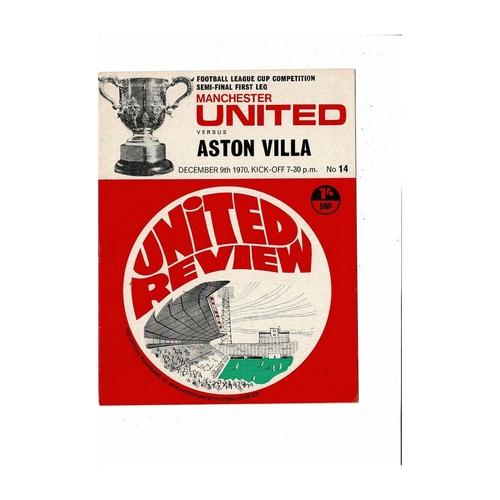 1970/71 Manchester United v Aston Villa League Cup Semi Final Programme