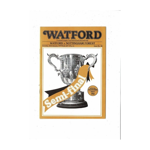 1978/79 Watford v Nottingham Forest League Cup Semi Final Football Programme