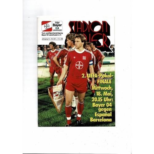 1988 Leverkusen v Espanol UEFA Cup Final Football Programme
