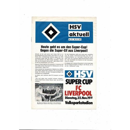 1977 Hamburg v Liverpool Super Cup Final Football Programme