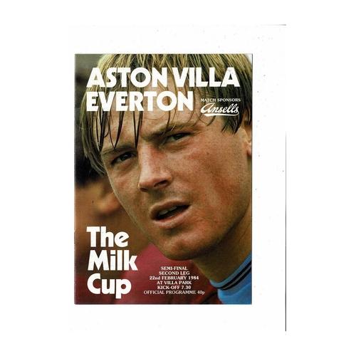 1983/84 Aston Villa v Everton League Cup Semi Final Football Programme