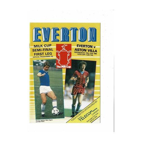 1983/84 Everton v Aston Villa League Cup Semi Final Football Programme