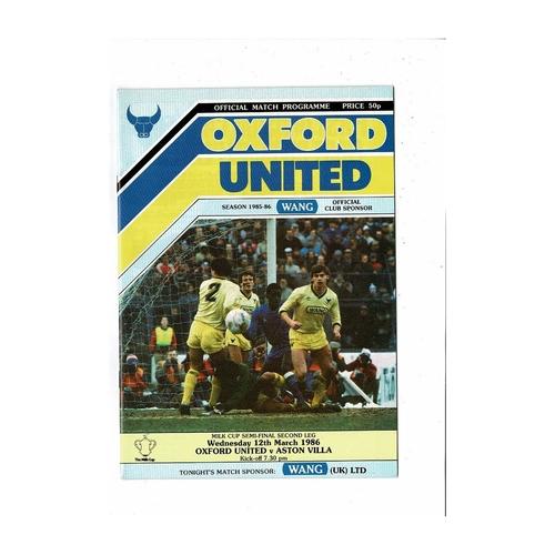 1985/86 Oxford United v Aston Villa League Cup Semi Final Football Programme