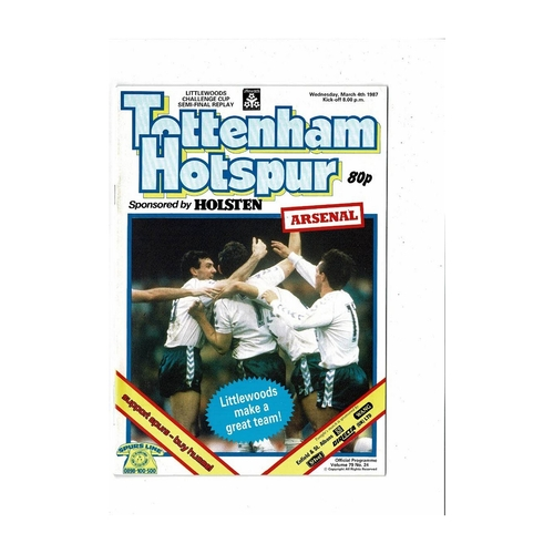 1986/87 Tottenham Hotspur v Arsenal League Cup Semi Final Replay Football Programme