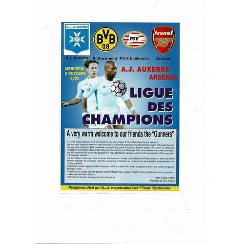 2002/03 Auxerre v Arsenal Champions League Football Programme