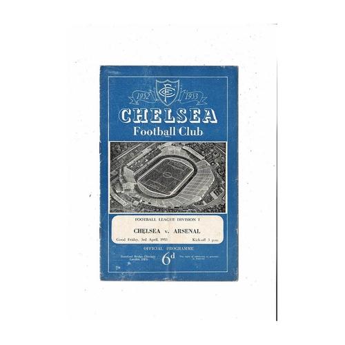 1952/53 Chelsea v Arsenal Football Programme