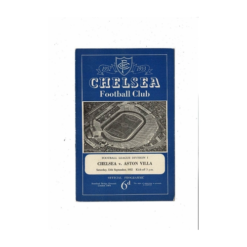 1952/53 Chelsea v Aston Villa Football Programme