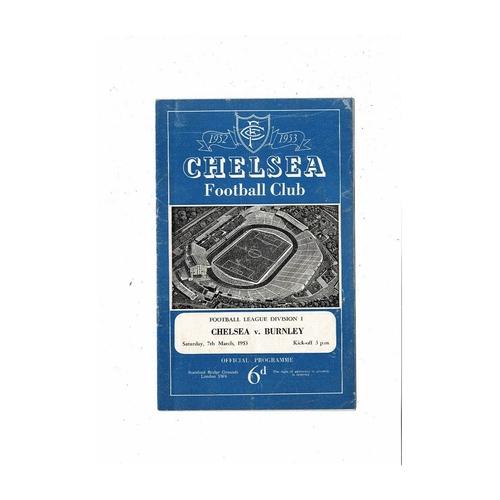 1952/53 Chelsea v Burnley Football Programme