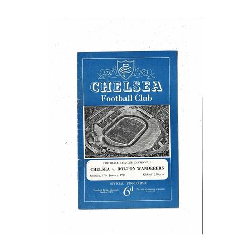 1952/53 Chelsea v Bolton Wanderers Football Programme