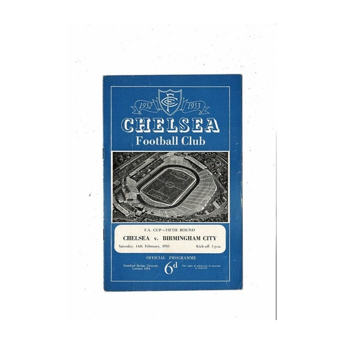 1952/53 Chelsea v Birmingham City FA Cup Football Programme