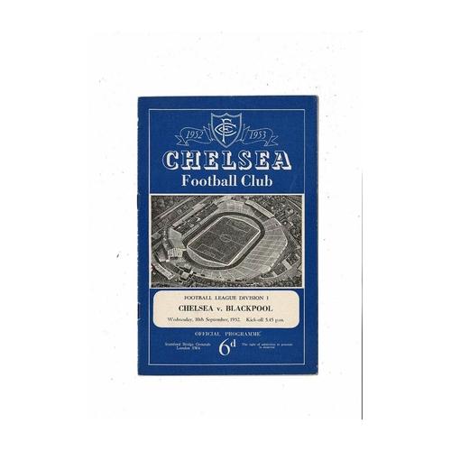 1952/53 Chelsea v Blackpool Football Programme