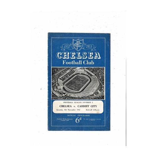 1952/53 Chelsea v Cardiff City Football Programme