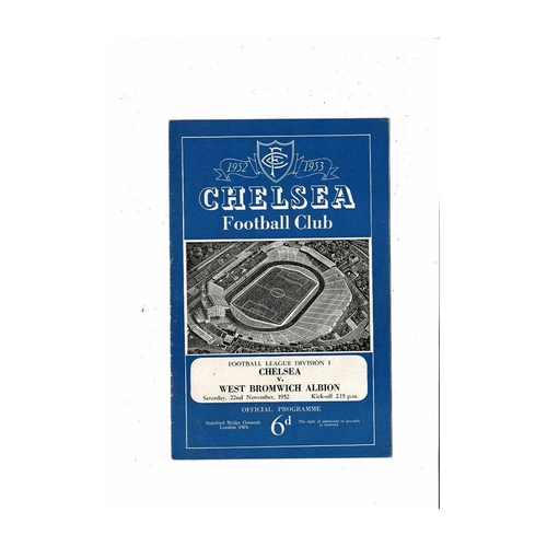 1952/53 Chelsea v West Bromwich Albion Football Programme