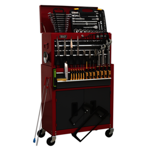 Topchest & Rollcab Combination 6 Drawer with Ball Bearing Slides - Red/Grey & 128pc Tool Kit - Sealey - AP2200BBCOMBO