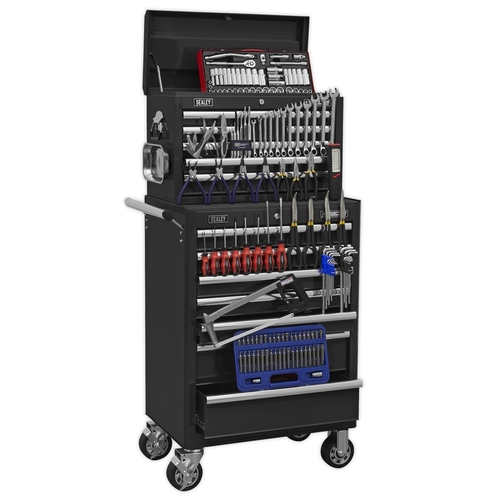 Topchest & Rollcab Combination 15 Drawer with Ball Bearing Slides - Black & 147pc Tool Kit - Sealey - APCOMBOBBTK58