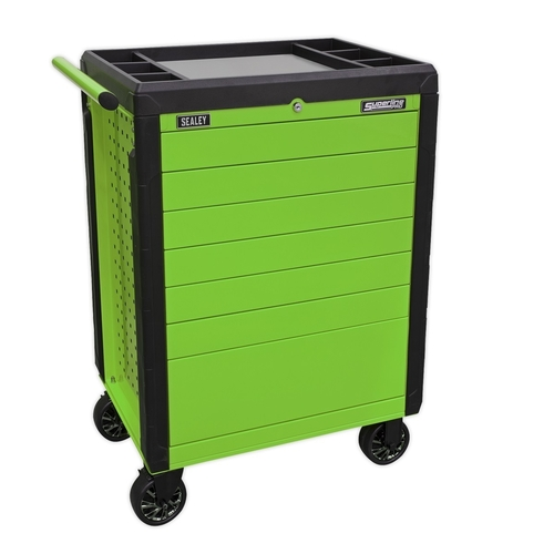 Rollcab 7 Drawer Push-To-Open Hi-Vis Green - Sealey - APPD7G