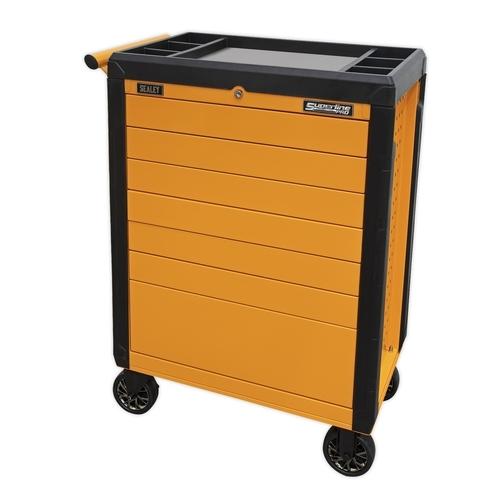 Rollcab 7 Drawer Push-To-Open Hi-Vis Orange - Sealey - APPD7O